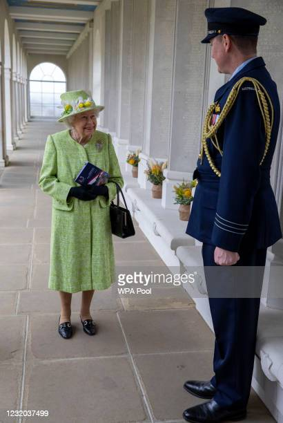 Queen Elizabeth II during a visit to The Royal Australian Air Force Memorial on March 31, 2021 near Egham, England.