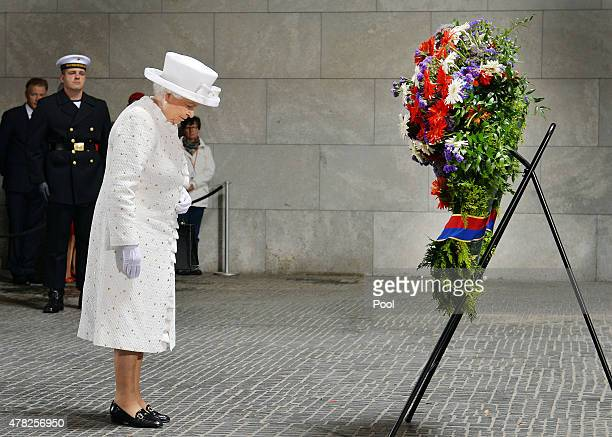 Queen Elizabeth II during a wreath laying ceremony at the Neue Wache on the second day of a four day state visit to Germany on June 24 2015 in Berlin...