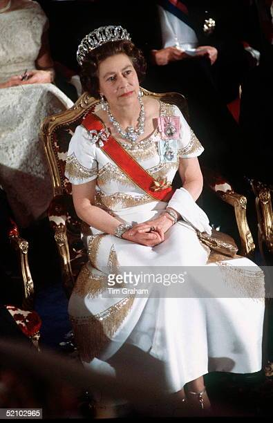 Queen Elizabeth II During An Official Overseas Tour Of Germany 2226 May 1978 The Queen Is Wearing The Grand Duchess Of Vladimir Of Russia Tiara A...