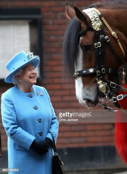 Queen Elizabeth II during an official visit to the Household Cavalry Mounted Regiment at Hyde Park on October 24 2017 in London England