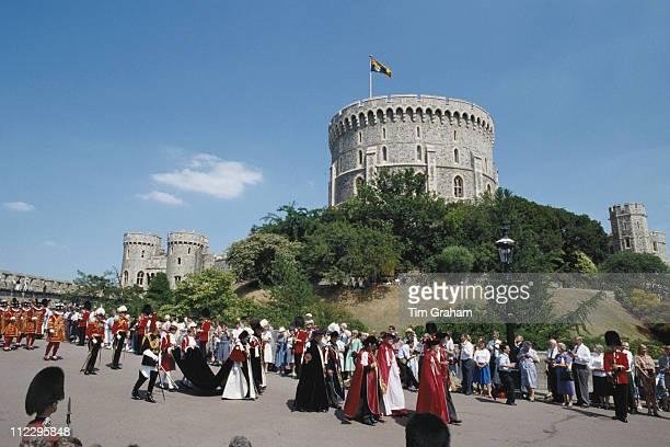 Queen Elizabeth II during an Order of the Garter ceremony at Windsor Castle in Windsor Berkshire England Great Britain 19 June 1989