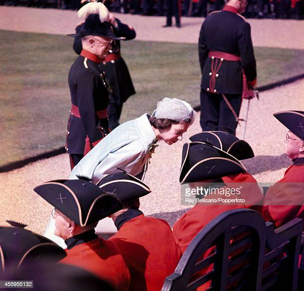 Queen Elizabeth II during Founders Day celebrations for the Chelsea Pensioners at the Royal Hospital in London on 29th May 1962.
