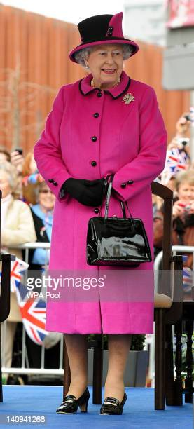 Queen Elizabeth II during her visit to Leicester on March 8 2012 in Leicester England The royal visit to Leicester marks the first date of Queen...