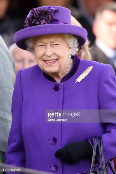 Queen Elizabeth II during the 2019 Braemar Highland Games at The Princess Royal and Duke of Fife Memorial Park on September 07 2019 in Braemar...