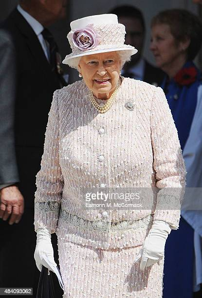 Queen Elizabeth II during the 70th Anniversary commemorations of VJ Day at St MartinintheFields Church on August 15 2015 in London England The event...