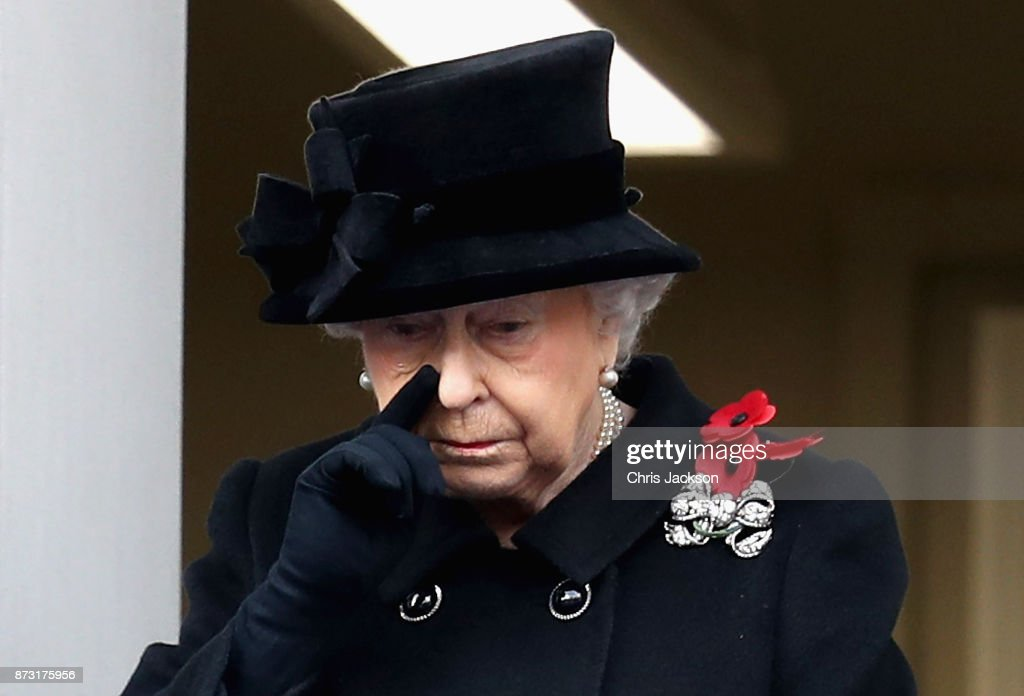 Queen Elizabeth II during the annual Remembrance Sunday memorial on November 12, 2017 in London, England. The Prince of Wales, senior politicians, including the British Prime Minister and representatives from the armed forces pay tribute to those who have suffered or died at war.