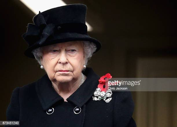 Queen Elizabeth II during the annual Remembrance Sunday memorial on November 12 2017 in London England The Prince of Wales senior politicians...