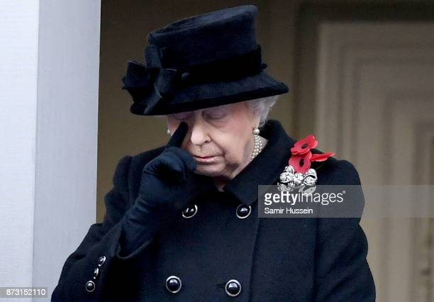 Queen Elizabeth II during the annual Remembrance Sunday Service at The Cenotaph on November 12 2017 in London England