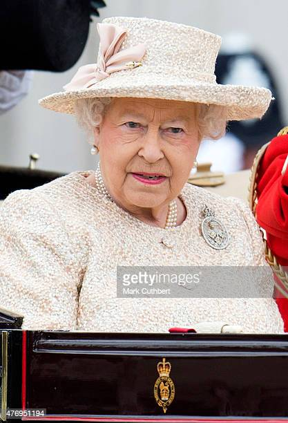 Queen Elizabeth II during the annual Trooping The Colour ceremony at Buckingham Palace on June 13 2015 in London England