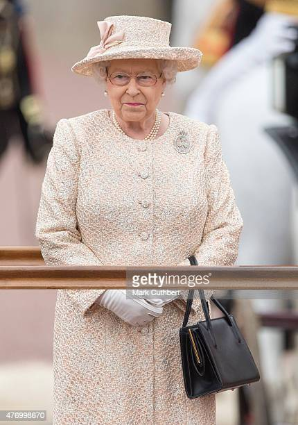 Queen Elizabeth II during the annual Trooping The Colour ceremony at Buckingham Palace on June 13, 2015 in London, England.