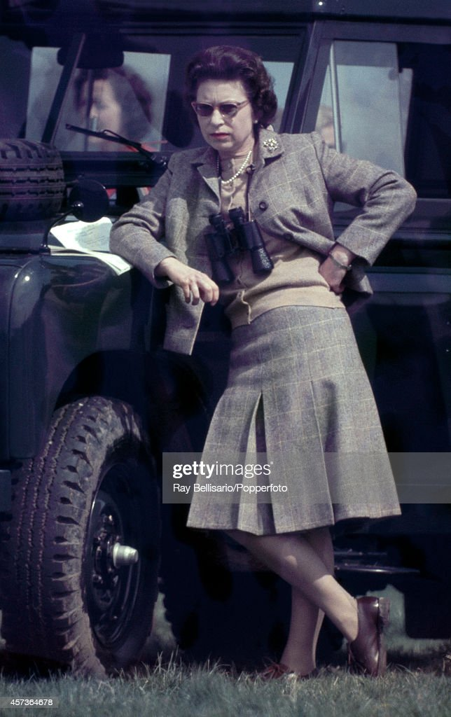 Queen Elizabeth II during the Badminton Horse Trials in Gloucestershire on 20th April 1968.