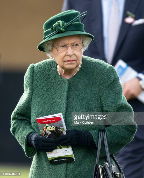 Queen Elizabeth II during the Dubai Duty Free Spring Trials at Newbury Racecourse on April 13 2019 in Newbury England