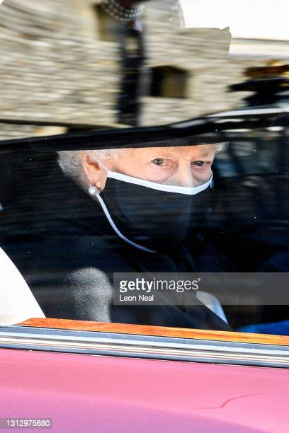 Queen Elizabeth II during the funeral of Prince Philip, Duke of Edinburgh at Windsor Castle on April 17, 2021 in Windsor, England. Prince Philip of...