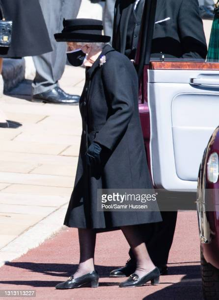 Queen Elizabeth II during the funeral of Prince Philip, Duke of Edinburgh on April 17, 2021 in Windsor, England. Prince Philip of Greece and Denmark...