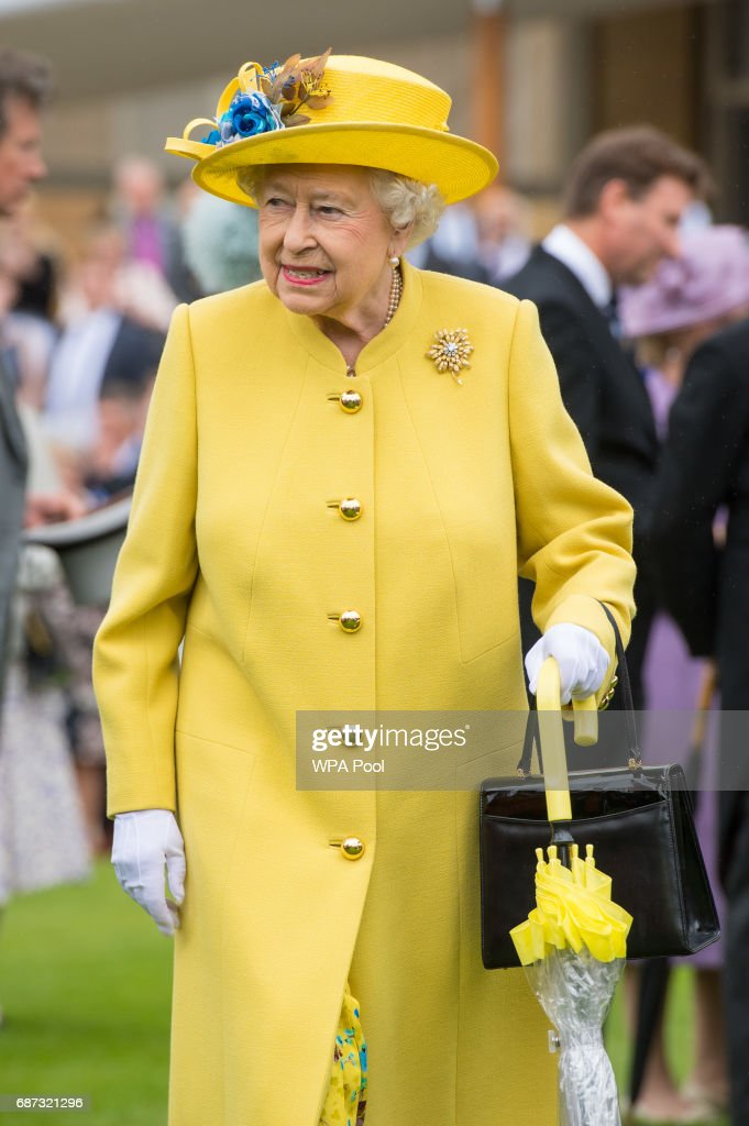 Queen Elizabeth II during the garden party at Buckingham Palace on May 23, 2017 in London, England. A minute's silence was observed for the victims of the Manchester terror attack.
