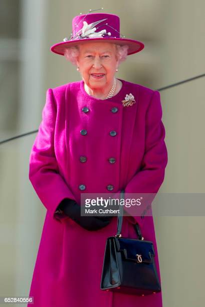 Queen Elizabeth II during the launch of The Queen's Baton Relay for the XXI Commonwealth Games being held on the Gold Coast in 2018 at Buckingham...