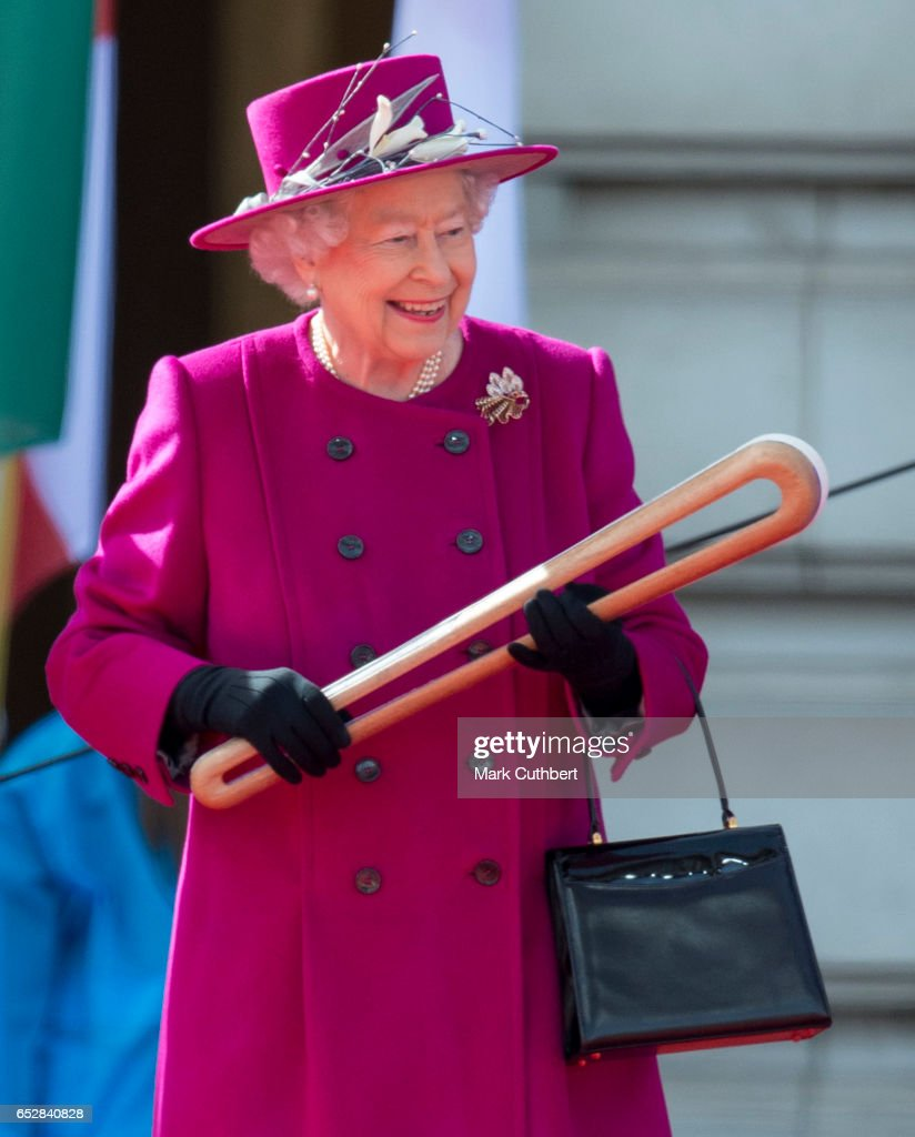 Queen Elizabeth II during the launch of The Queen's Baton Relay for the XXI Commonwealth Games being held on the Gold Coast in 2018 at Buckingham Palace on March 13, 2017 in London, England.