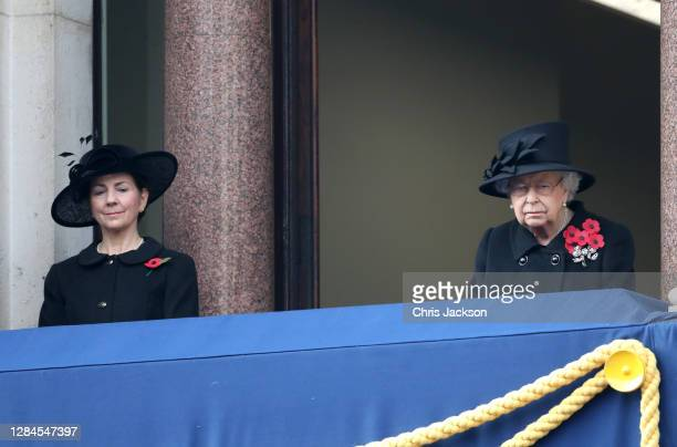 Queen Elizabeth II during the National Service of Remembrance at The Cenotaph on November 08, 2020 in London, England. Remembrance Sunday services...