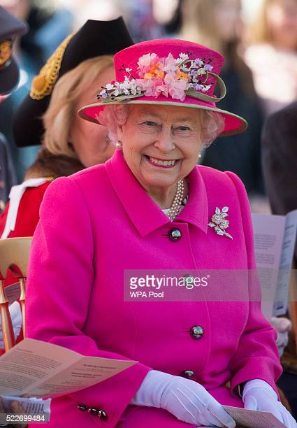 Queen Elizabeth II during the opening of the Alexandra bandstand on April 20 2016 in Windsor England Her Majesty viewed an exhibition about the...