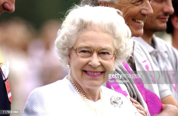 HM Queen Elizabeth II during the prize giving at The Cartier Queen's Cup Finals Day held at Guards Polo Club Windsor England on June 18 2006