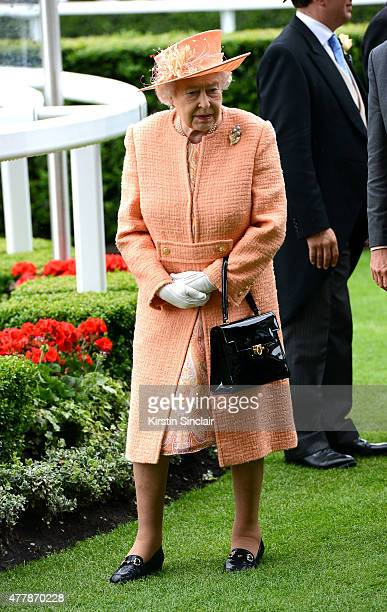 Queen Elizabeth II during the Royal Procession on day 5 of Royal Ascot 2015 at Ascot racecourse on June 20 2015 in Ascot England