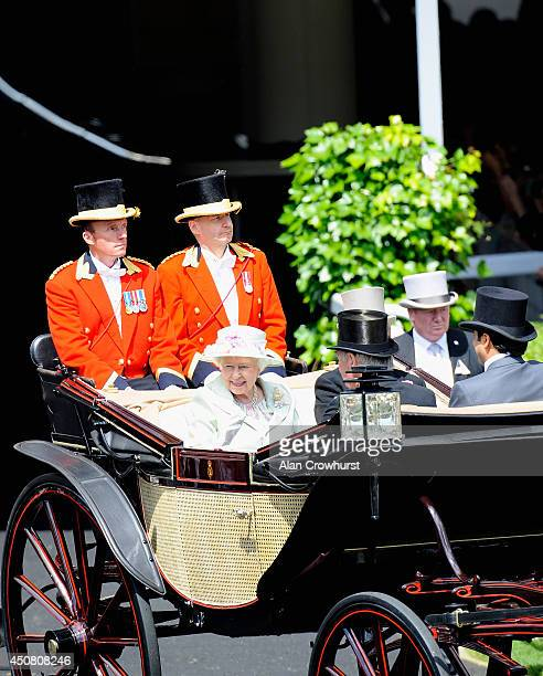 Queen Elizabeth II during the Royal Procession on day two of Royal Ascot at Ascot Racecourse on June 18 2014 in Ascot England