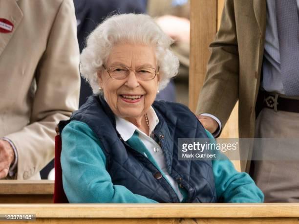 Queen Elizabeth II during the Royal Windsor Horse Show 2021 at Windsor Castle on July 3, 2021 in Windsor, England.
