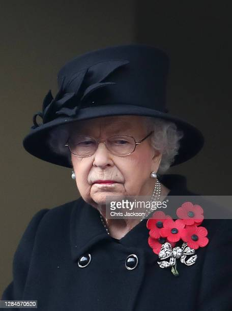 Queen Elizabeth II during the Service of Remembrance at the Cenotaph at The Cenotaph on November 08 2020 in London England
