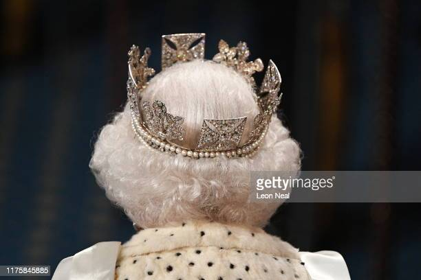 Queen Elizabeth II during the State Opening of Parliament at the Palace of Westminster on October 14 2019 in London England The Queen's speech is...