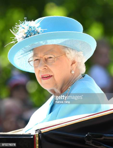 Queen Elizabeth II during Trooping The Colour 2018 at The Mall on June 9 2018 in London England The annual ceremony involving over 1400 guardsmen and...