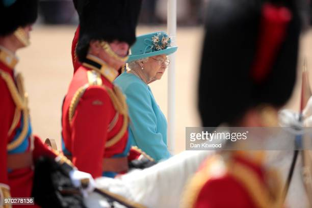 Queen Elizabeth II during Trooping The Colour ceremony at The Royal Horseguards on June 9 2018 in London England The annual ceremony involving over...
