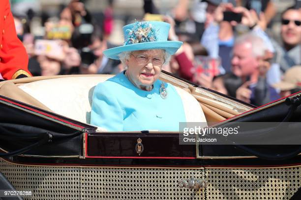 Queen Elizabeth II during Trooping The Colour on the Mall on June 9 2018 in London England The annual ceremony involving over 1400 guardsmen and...