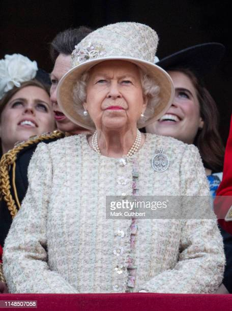 Queen Elizabeth II during Trooping The Colour the Queen's annual birthday parade on June 8 2019 in London England