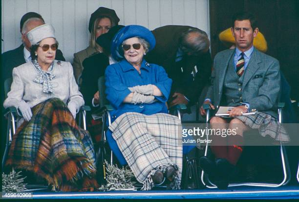 Queen Elizabeth II Elizabeth The Queen Mother and Charles Prince of Wales attend the annual Braemar Highland Games on September 3 in Braemar Scotland