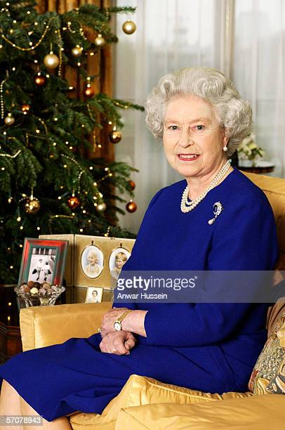 Queen Elizabeth II films her traditional Christmas broadcast to the Commonwealth from Buckingham Palace on December 19, 2001 in London, England.