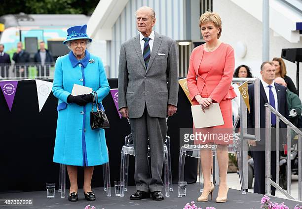 Queen Elizabeth II, First Minister of Scotland Nicola Sturgeon and Prince Philip, Duke of Edinburgh look on at the opening of the Borders Railway at...