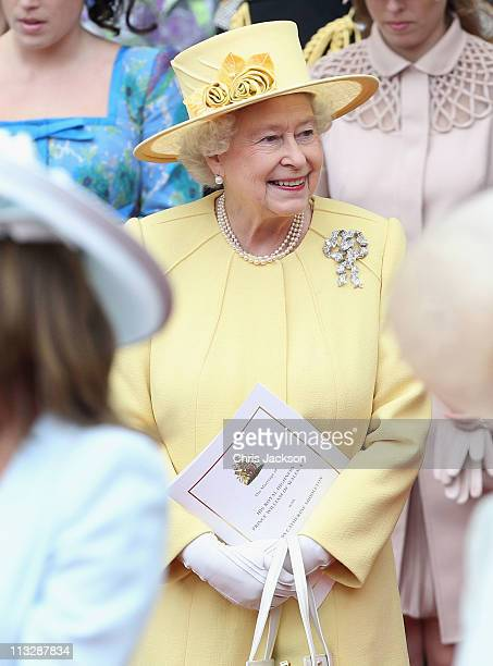 Queen Elizabeth II following the marriage of Prince William Duke of Cambridge and Catherine Duchess of Cambridge at Westminster Abbey on April 29...