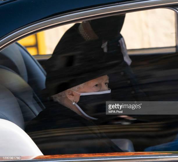 Queen Elizabeth II follows Prince Philip, Duke of Edinburgh's coffin during the Ceremonial Procession of the funeral of Prince Philip, Duke of...