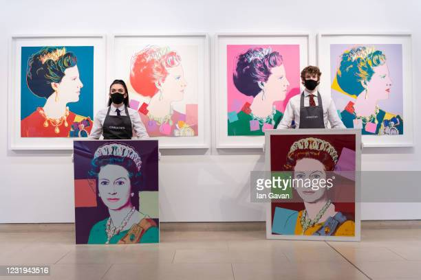 Queen Elizabeth II, from: Reigning Queens is displayed alongside Queen Margarethe II of Denmark, both by Andy Warhol during preparations ahead of...