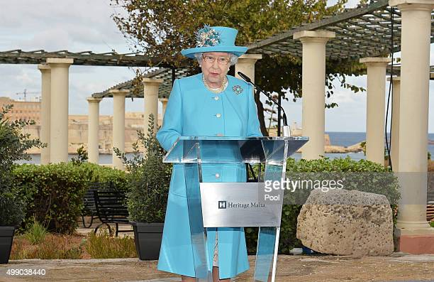 Queen Elizabeth II gives a short speech during which she expressed her deep affection for the island at the Kalkara Heritage site on November 28 2015...