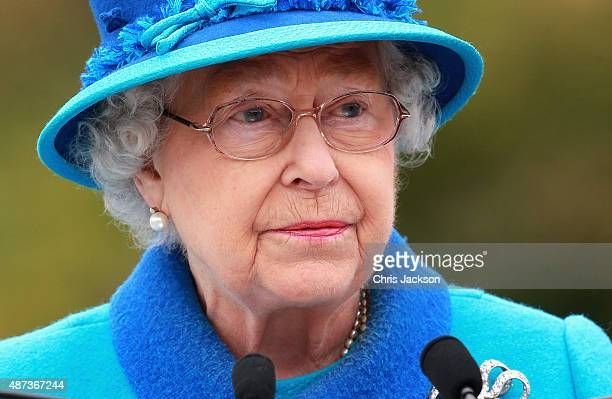Queen Elizabeth II gives a speech ahead of opening the Borders Railway at Tweedbank Station on September 9 2015 in Tweedbank Scotland Today Her...