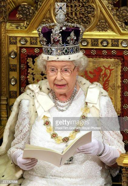 Queen Elizabeth II gives a speech to announce the programme of bills to be introduced by the government during the State Opening of Parliament held...