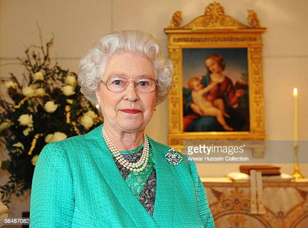 Queen Elizabeth II gives her Christmas speech to the nation in the Chapel at Buckingham Palace where she recorded her Christmas broadcast to the...