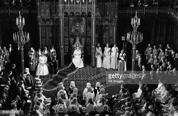 Queen Elizabeth II gives her speech to the House of Lords during the State Opening of Parliament