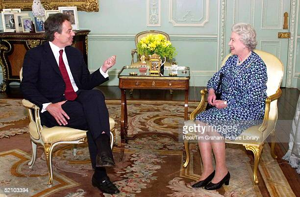 Queen Elizabeth II Giving An Audience At Buckingham Palace To Prime Minister Tony Blair The Image Will Be Featured In The Final Part Of The Bbc...