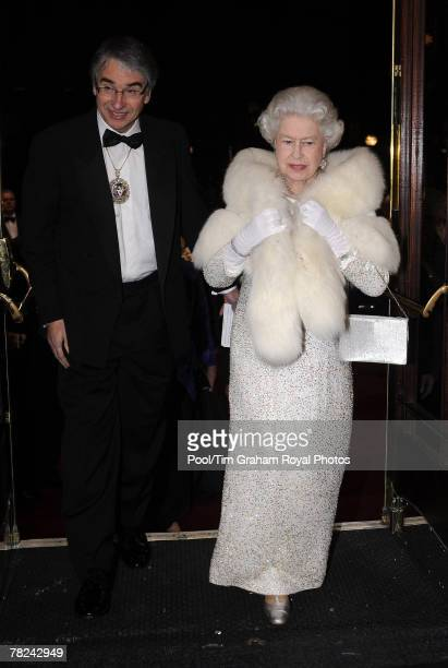 Queen Elizabeth II greeted by The Lord Mayor of Liverpool Councillor Paul Clark arrives at the Empire Theatre for the 2007 Royal Variety Performance...