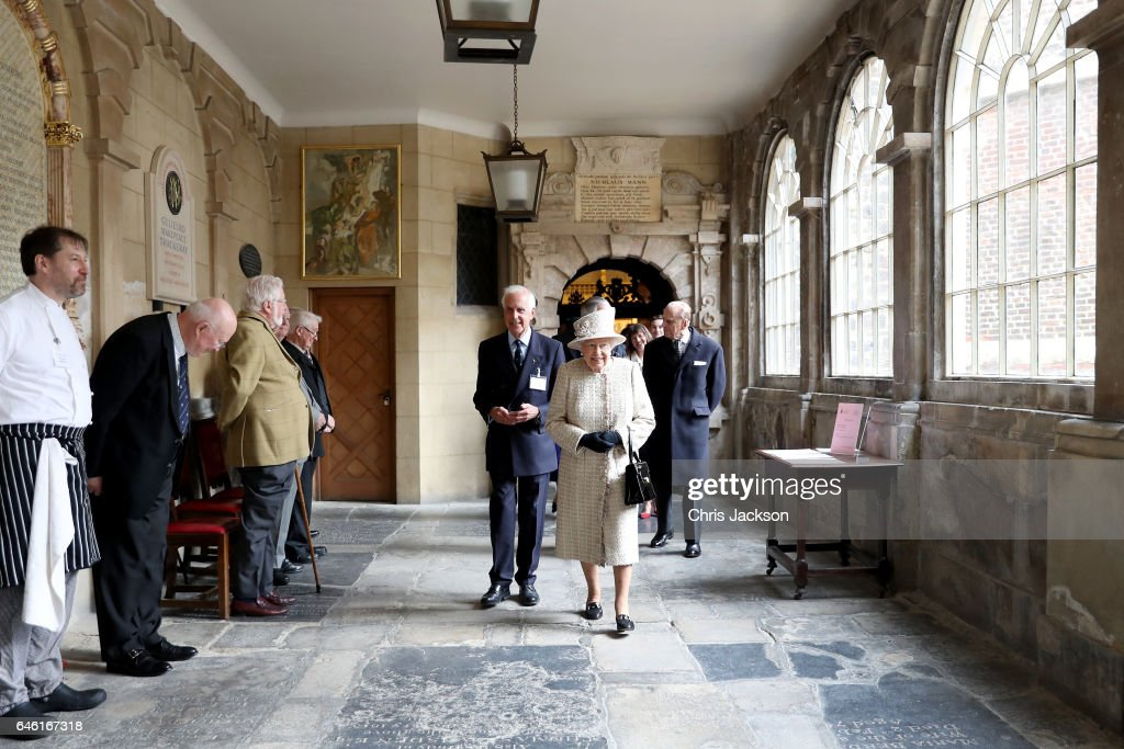 Queen Elizabeth II greets Almshouse residents as she and Prince Philip, Duke of Edinburgh open a new development at The Charterhouse at Charterhouse Square on February 28, 2017 in London, England.