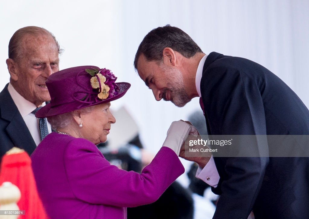 Queen Elizabeth II greets King Felipe VI of Spain at the official welcome ceremony on Horseguards Parade during a State visit by the King and Queen of Spain on July 12, 2017 in London, England. This is the first state visit by the current King Felipe and Queen Letizia, the last being in 1986 with King Juan Carlos and Queen Sofia.