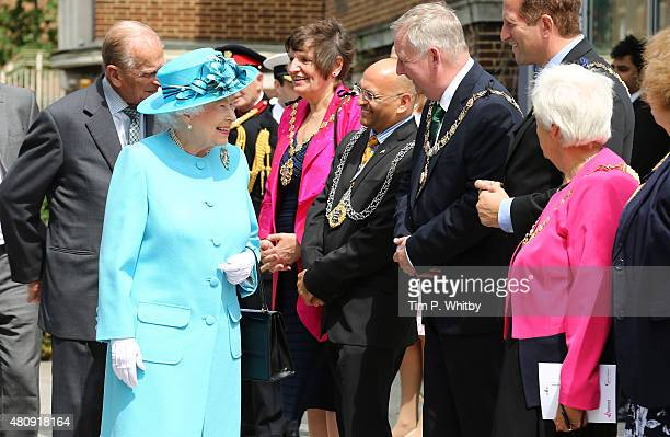 Queen Elizabeth II greets Mayors at the Broadway Theatre on July 16 2015 in Barking United Kingdom