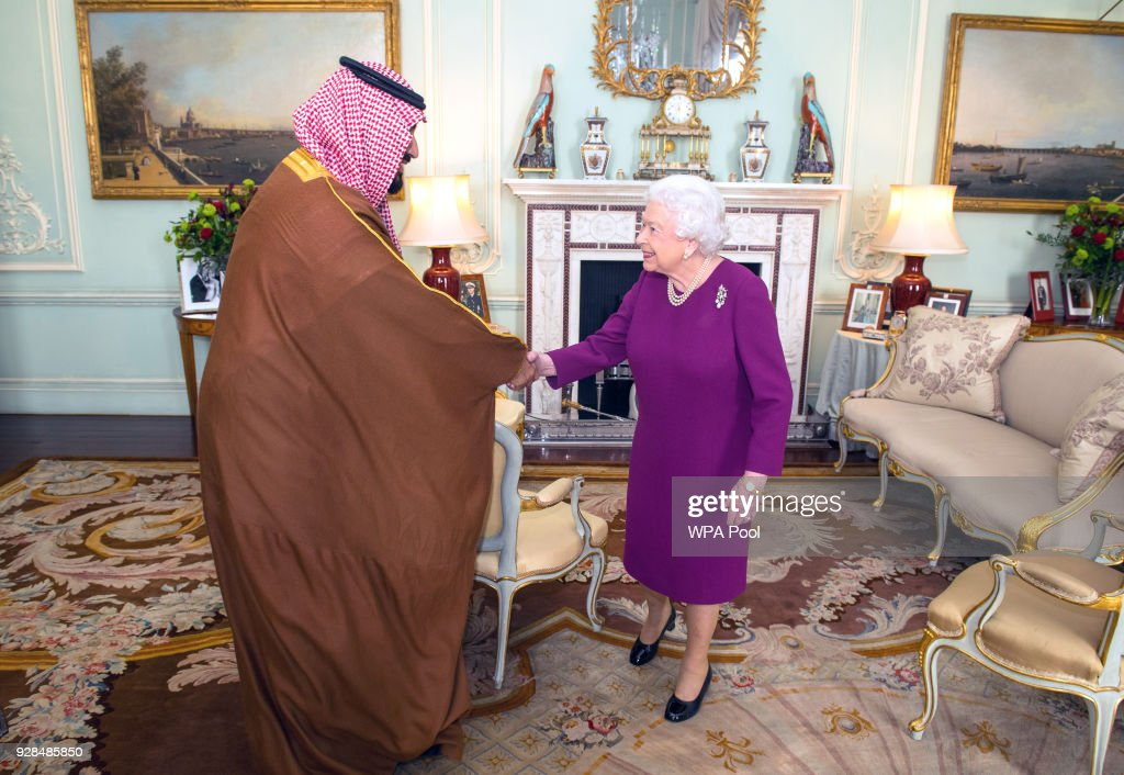 Saudi Arabia Crown Prince Mohammed Bin Salman Attends Audience With Queen Elizabeth II At Buckingham Palace : News Photo
